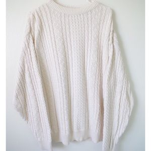 OVERSIZED VINTAGE CREAM CABLE KNIT SWEATER